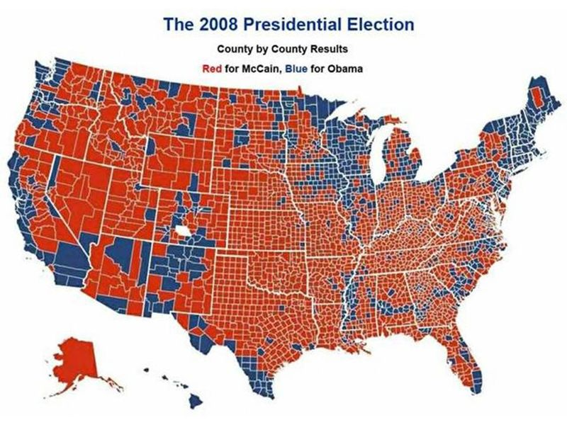 2008 USA Red Blue Map